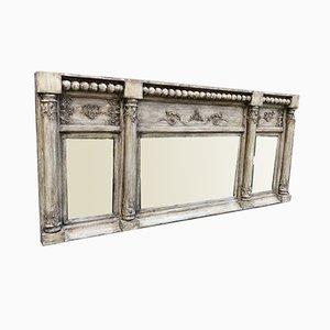 Antiker englischer geschnitzter Holz & Gesso Spiegel mit Dreifacher Platte und Säule aus Overmantel