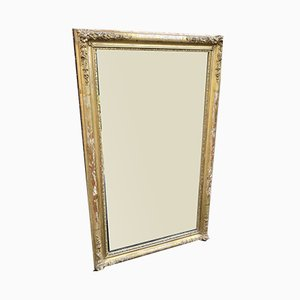 Antique French Louis Philippe Carved Wood & Gesso Original Gilt Mirror