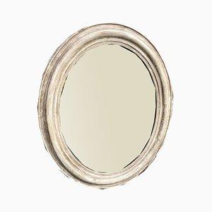 Miroir Ovale Peint Antique en Bois Courbé et Gesso Peint, France