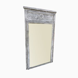 Large Antique French Carved Wood & Gesso Painted Trumeau Mirror