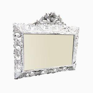Antiker verzierter französischer verzierter Spiegel aus geschnitztem Holz