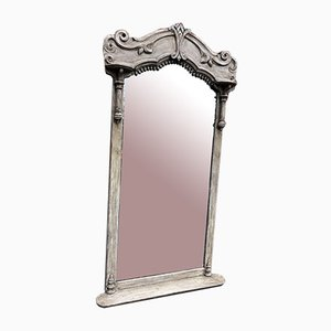 Large 19th Century French Painted Wood Shaped Top Mirror
