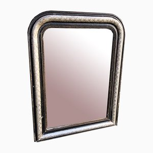 19th Century French Original Silver and Black Arched Top Mirror