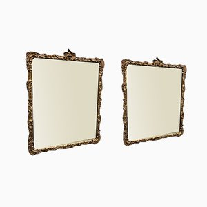 Antique French Carved Wood & Gesso Original Gilt Mirrors, Set of 2