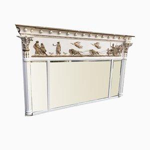 Antiker bemalter Spiegel mit Dreifachem Spiegel aus Geschnitztem Holz & Gesso, Deutschland