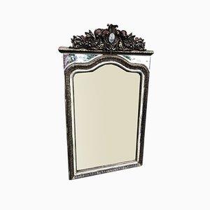 Grand Miroir avec Cadre en Bois Sculpté et Gesso, France