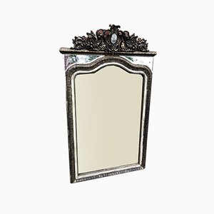Large Antique French Carved Wood & Gesso Shaped Top Frame Mirror
