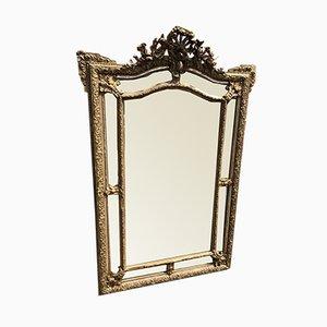 Großer Antiker Französischer Spiegel mit Gewölbungsform aus vergoldetem & versilbertem Holz & Gesso Kissen & Spiegel