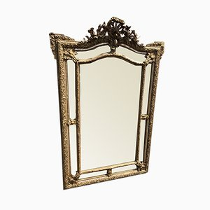 Large Antique French Wood & Gesso Original Silver & Gilt Distressed Shaped Top Cushion Mirror