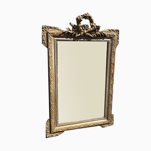 Antique French Carved Wood & Gesso Original Silver & Gilt Mirror
