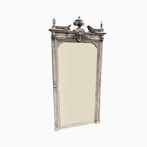 Großer Antiker Französischer Geschnitzter Holz & Gesso Spiegel