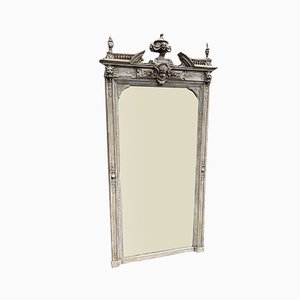 Large Antique French Carved Wood & Gesso Painted Mirror