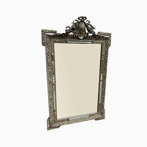Antique French Carved Wood and Gesso Original Silver & Gilt Mirror