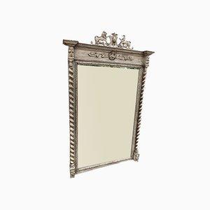 Grand Miroir Antique avec Cadre en Bois Sculpté Peint