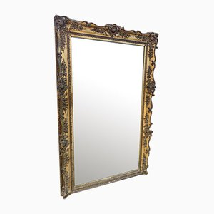 Large 19th Century French Gilt Carved Wood & Gesso Mirror