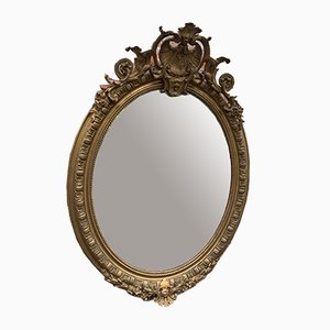 Antique French Gilt Carved Wood and Gesso Oval Mirror