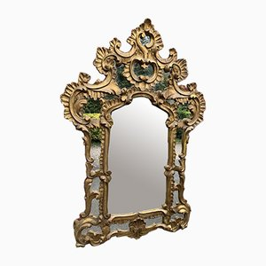 Antique Italian Carved Wood Gilt Ornate Cushion Mirror