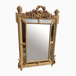 Großer Antiker Französischer Spiegel mit Geschnitztem Holz & Gesso Kissen
