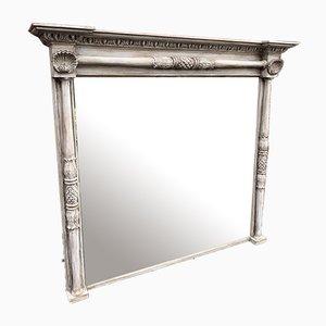 Grand Miroir Antique en Bois Sculpté et Colonne Gesso Peinte, Angleterre