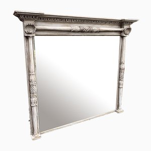 Großer antiker Spiegel aus Geschnitztem Holz & Bemaltem Gesso Säulenspiegel