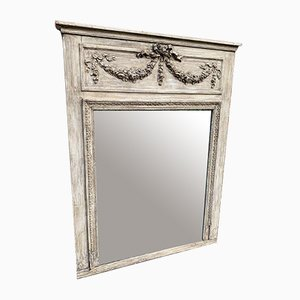 Large Antique French Carved Wood & Painted Gesso Distressed Trumeau Mirror