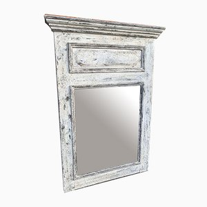 Antique French Distressed Painted Carved Wood Mirror
