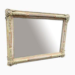 Antiker Französischer Geschnitzter Holz & Gesso Spiegel mit Vergoldetem Rahmen