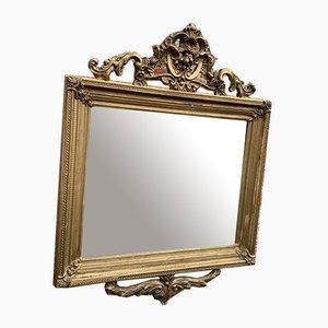 Antiker Französischer Geschnitzter Holz & Gesso Gerippter Gerippter Spiegel