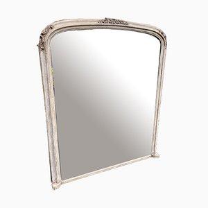 Grand Miroir Overmantle Peint Antique en Bois Courbé et Gesso Peint