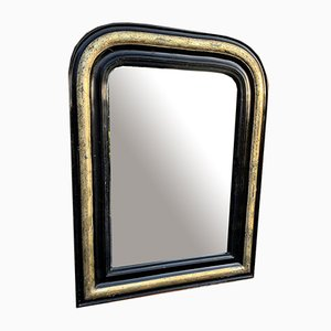 Antique Louis Philippe French Black, Silver, and Gilt Carved Wood and Gesso Arched Top Mirror