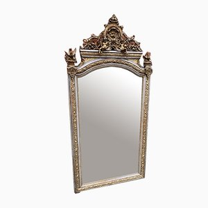 Large Antique French Silver and Gilt Carved Wood & Gesso Shaped Top Mirror