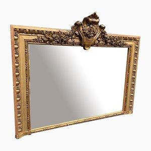 Miroir Antique en Bois Doré et Gesso Overmantle, France