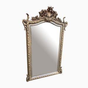Großer antiker Spiegel aus vergoldetem geschnitztem Holz mit vergoldetem Holzrahmen in Form eines Spiegels aus Silber & vergoldetem Holzrahmen