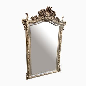 Large Antique French Silver and Gilt Carved Wood and Gesso Shaped Top Mirror