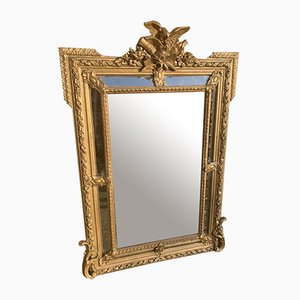 Antique French Gilt Carved Wood and Gesso Cushion Mirror