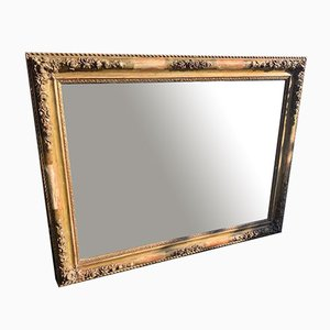 19th Century Louis Philippe French Carved Wood and Gesso Original Gilt & Flowered Framed Mirror