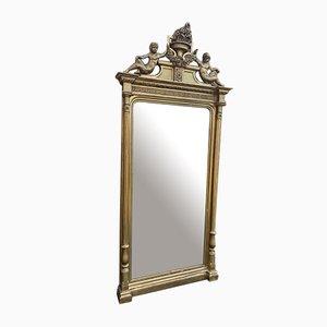Large Antique French Carved Wood & Gesso Original Gilt Column Framed Mirror