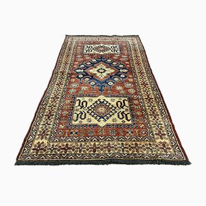 Vintage Afghan Kazak Medium Blue, Red, Beige Tribal Rug 210 x 122 cm