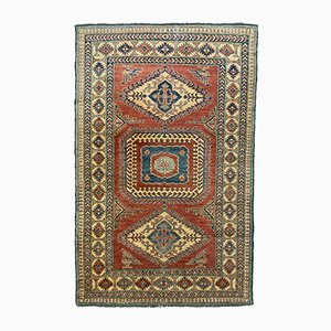 Vintage Afghan Kazak Medium Blue, Red, Beige Tribal Rug 205x132