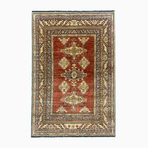 Tapis Kazak Afghan Tribal, Taille Moyenne, Bleu, Rouge, Beige 198x130 cm