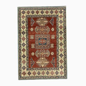 Vintage Afghan Kazak Medium Blue, Red, Beige Tribal Rug 192x132 cm