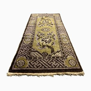 Vintage Chinese Gold and Brown Wool Pao Tao Rug 145x68 cm