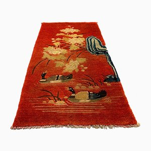 Vintage Chinese Red and Orange Wool Pao Tao Rug 125x70 cm