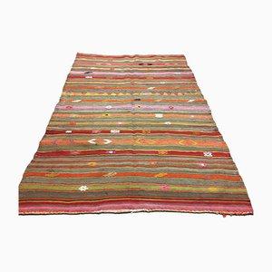 Türkischer Vintage Kilim Wandteppich aus schäbiger Wolle in 215x145 cm
