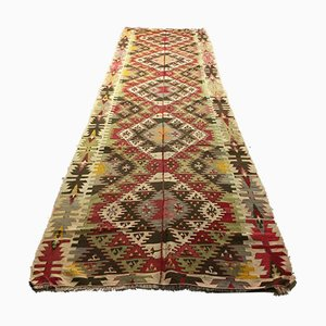 Large Vintage Turkish Shabby Kilim Runner Rug 413x127cm