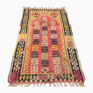 Vintage Turkish Wool Shabby Kilim Rug 150x88cm