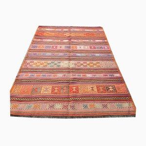 Vintage Turkish Wool Shabby Kilim Rug 206x142cm