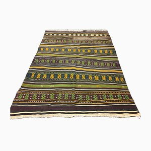 Large Vintage Turkish Shabby Wool Kilim Rug 203x141cm