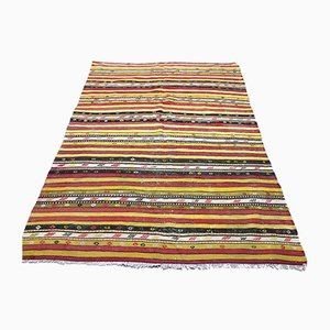 Large Vintage Turkish Shabby Wool Kilim Rug 213x150cm
