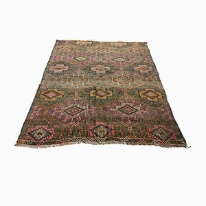Vintage Turkish Medium Sized Shabby Woolen Kilim Rug 173x146 cm